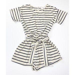 Everly Short Sleeve Striped Toe Waist Romper Sz S